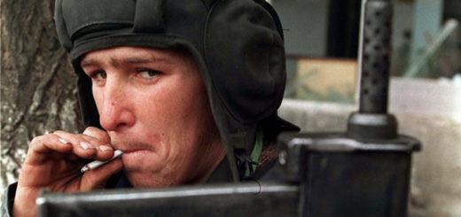A Chechen fighter with a Borz submachine gun, 1995