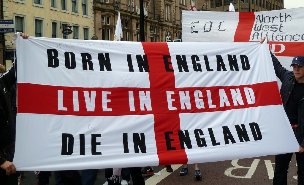 The flag of St George displayed at an EDL demonstration in Newcastle in 2010